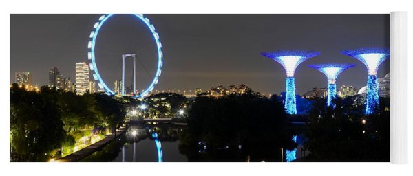 Night Shot Of Singapore Flyer Gardens By The Bay And Water Reflections Yoga Mat