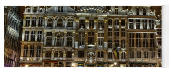 Night Time In Grand Place Yoga Mat
