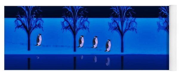 Night Walk Of The Penguins Yoga Mat