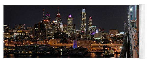 Nighttime Philly From The Ben Franklin Yoga Mat