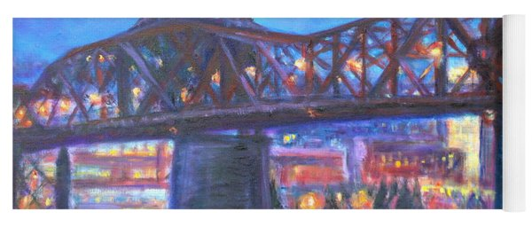 City At Night Downtown Evening Scene Original Contemporary Painting For Sale Yoga Mat