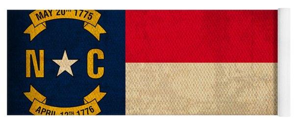 North Carolina State Flag Art On Worn Canvas Yoga Mat