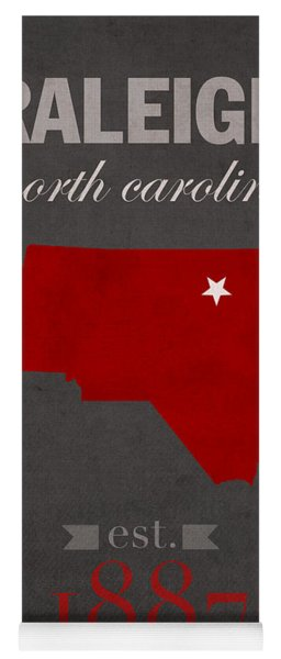 North Carolina State University Wolfpack Raleigh College Town State Map Poster Series No 077 Yoga Mat