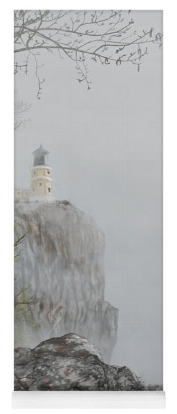North Shore Lighthouse In The Fog Yoga Mat