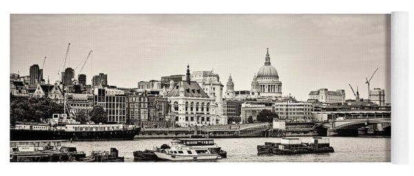 North Side Of The Thames Bw Yoga Mat