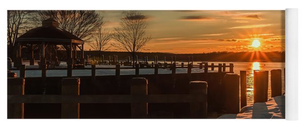 Northport New York Winter Sunset Yoga Mat