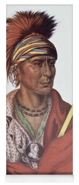 Notchimine Or No Heart, An Iowa Chief, 1837, Illustration From The Indian Tribes Of North America Yoga Mat