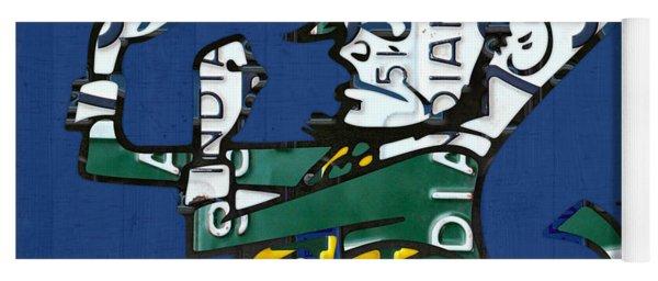 Notre Dame Fighting Irish Leprechaun Vintage Indiana License Plate Art  Yoga Mat