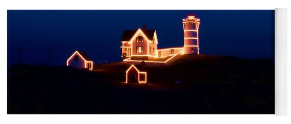 Nubble Lighthouse With Christmas Lights Yoga Mat