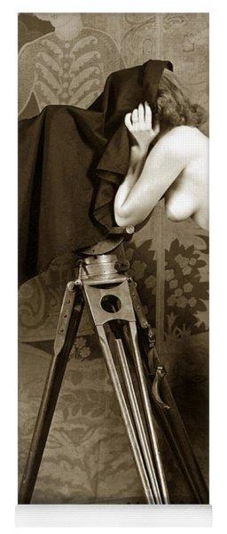 Nude In High Heel Shoes With Studio Camera Circa 1920 Yoga Mat