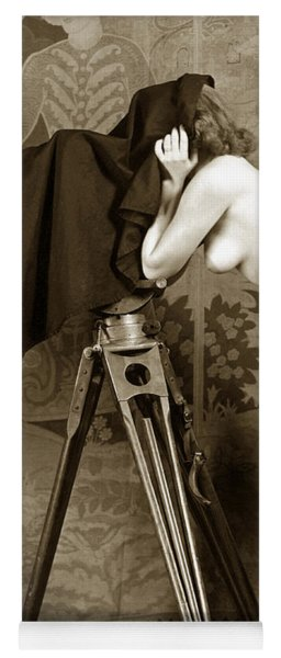 Nude In High Heel Shoes With Studio Camera Circa 1920 Yoga Mat