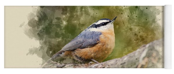Nuthatch Watercolor Art Yoga Mat