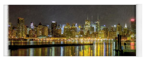 Nyc At Night Faux Oil Yoga Mat
