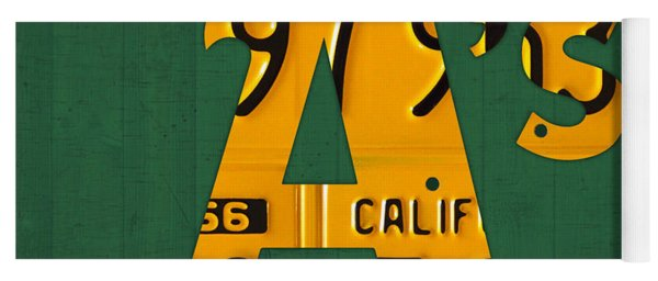 Oakland Athletics Vintage Baseball Logo License Plate Art Yoga Mat