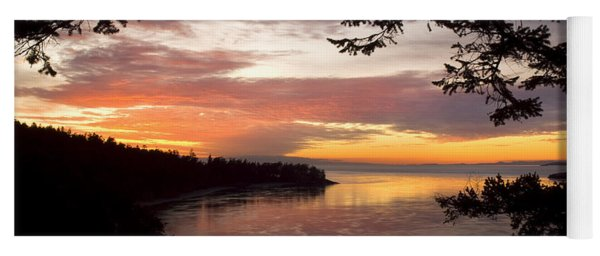 Ocean Sunset Deception Pass Yoga Mat