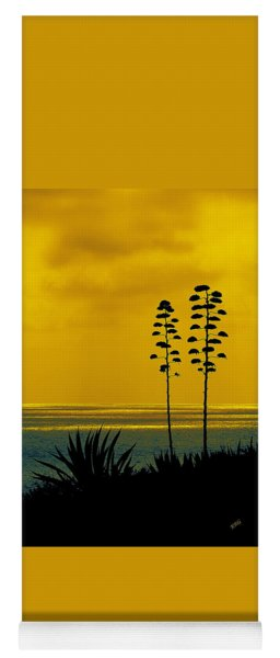 Ocean Sunset With Agave Silhouette Yoga Mat