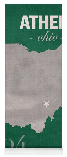 Ohio University Athens Bobcats College Town State Map Poster Series No 082 Yoga Mat
