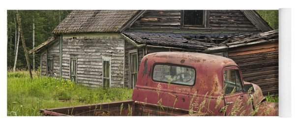 Old Abandoned Homestead And Truck Yoga Mat