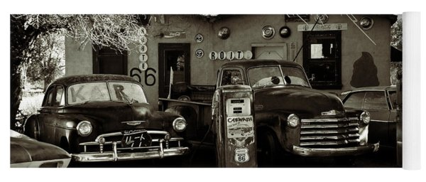 Old Cars On Route 66 Yoga Mat