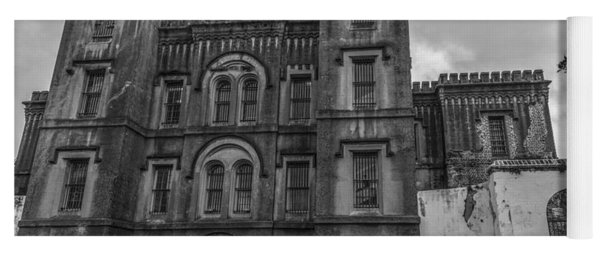 Old City Jail In Black And White Yoga Mat