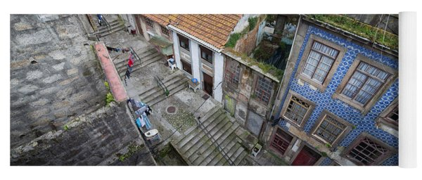 Old City Of Porto In Portugal From Above Yoga Mat