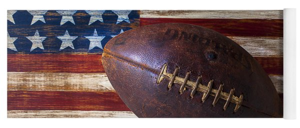Old Football On American Flag Yoga Mat