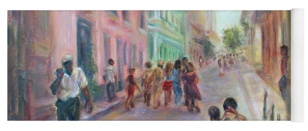 Old Havana Street Life - Sale - Large Scenic Cityscape Painting Yoga Mat