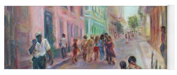 Old Havana Street Life - Sale - Large Scenic Cityscape Painting Yoga Mat