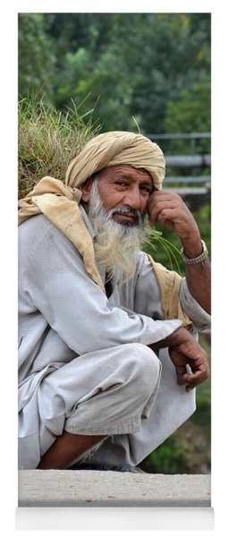 Old Man Carrying Fodder Swat Valley Kpk Pakistan Yoga Mat