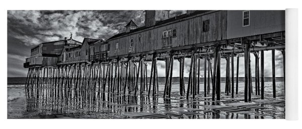 Old Orchard Beach Pier Bw Yoga Mat