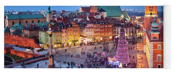 Old Town In Warsaw At Night Yoga Mat