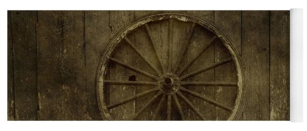Old Wagon Wheel On Barn Wall Yoga Mat