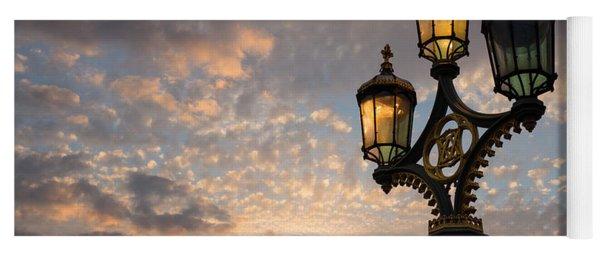 One Light Out - Westminster Bridge Streetlights - River Thames In London Uk Yoga Mat