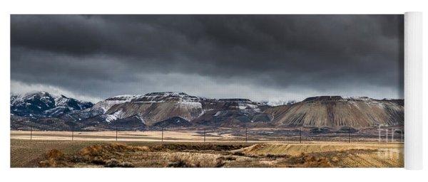 Oquirrh Mountains Winter Storm Panorama 2 - Utah Yoga Mat