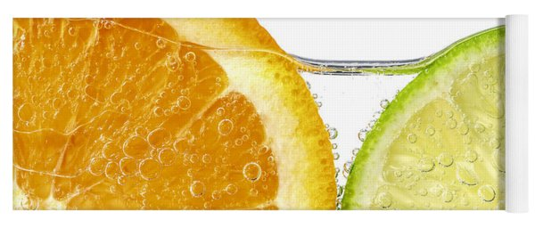 Orange And Lime Slices In Water Yoga Mat
