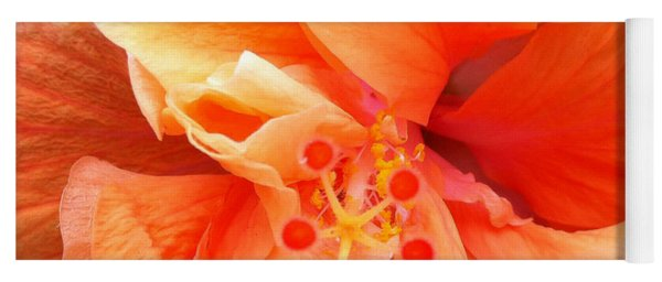 Orange Hibiscus Yoga Mat