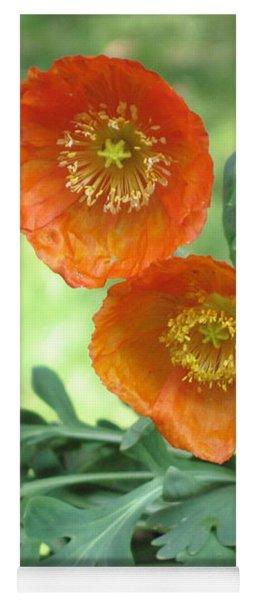 Orange Poppies Yoga Mat