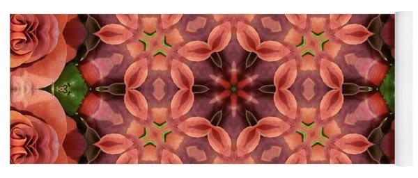 Orange Rose Mandala Yoga Mat