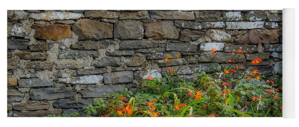 Orange Wildflowers Against Stone Wall Yoga Mat
