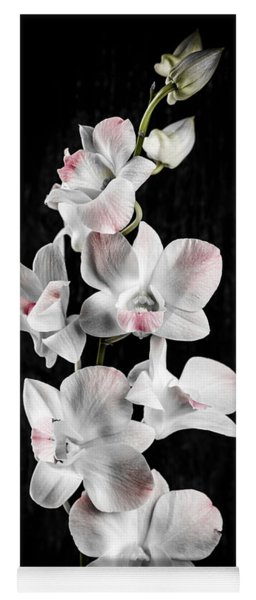 Orchid Flowers On Black Yoga Mat