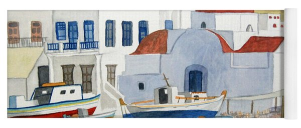 Yoga Mat featuring the painting Watercolor - Mykonos Greece Detail by Cascade Colors