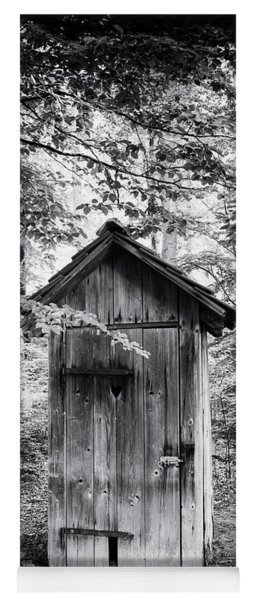 Outhouse In The Forest Black And White Yoga Mat