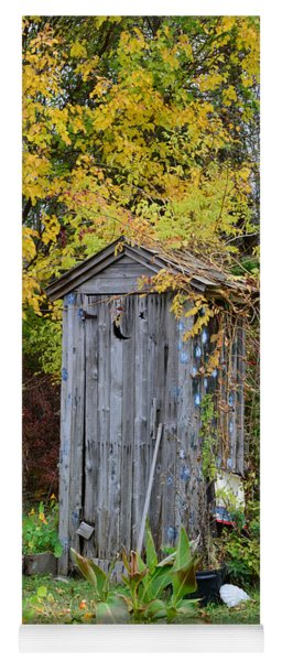 Outhouse Surrounded By Autumn Leaves Yoga Mat