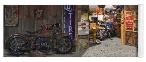 Outside The Motorcycle Shop Yoga Mat
