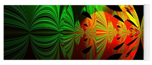 Art. Unigue Design.  Abstract Green Red And Black Yoga Mat