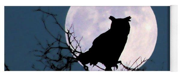 Owl And Blue Moon Yoga Mat