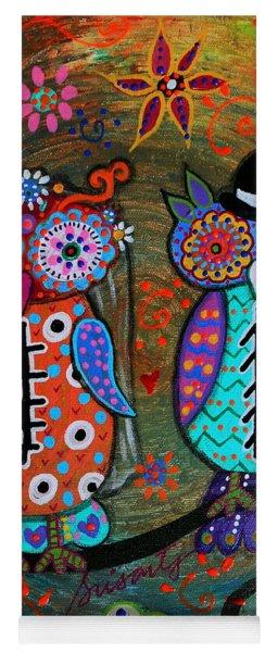 Owl Wedding Dia De Los Muertos Yoga Mat
