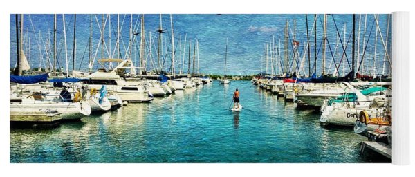 Paddle Boarder  In The Harbor Yoga Mat