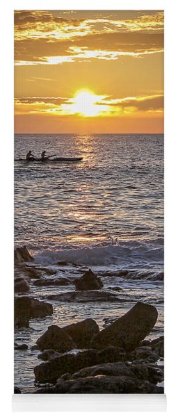 Paddlers At Sunset Portrait Yoga Mat