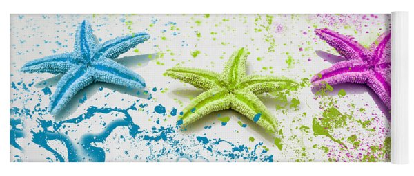 Paint Spattered Star Fish Yoga Mat